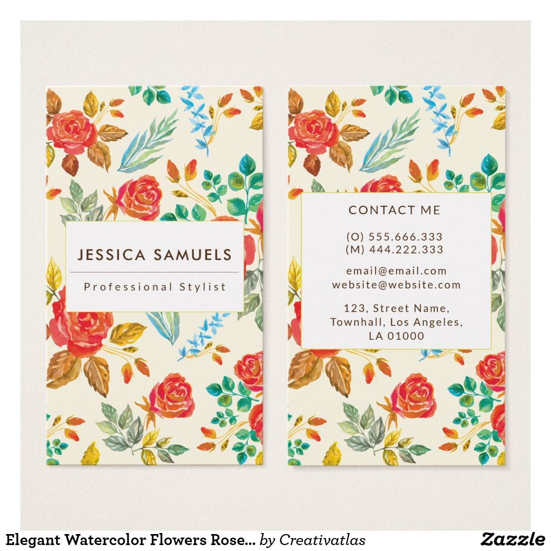 Floral Yellow Red Rose Flowers Green Pattern Business Card Zazzle Com In 2020 Pastel Business Cards Business Card Pattern Photography Business Cards