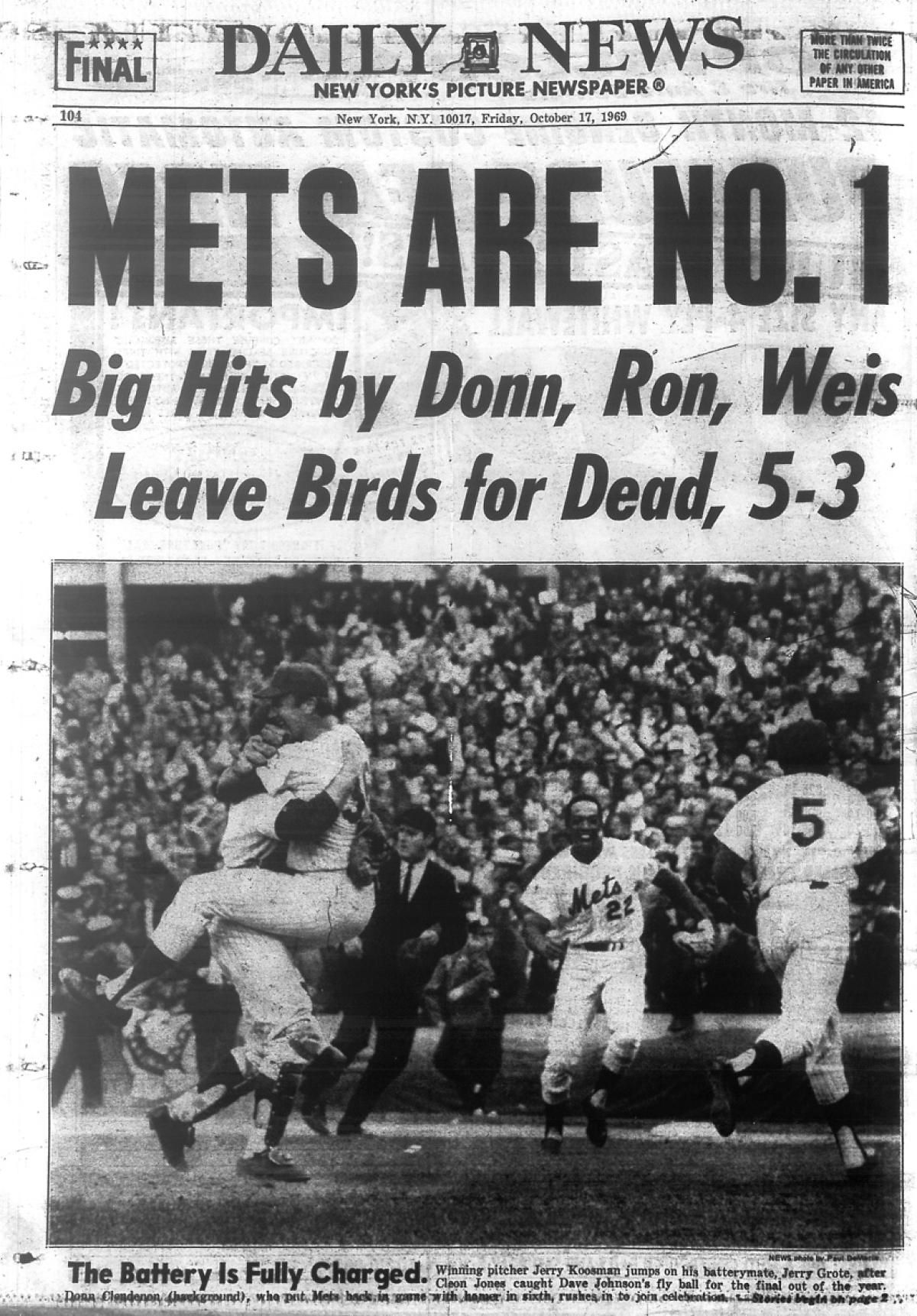 1969 World Series Game 5 Mets vs. Orioles Ny mets