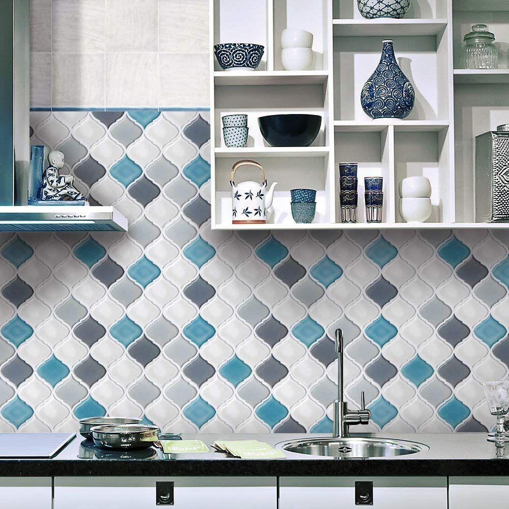 Amazon Com Fam Sticktiles Teal Arabesque Peel And Stick Tile Backsplash For Kitchen Bathroom Stick O Decorative Backsplash Smart Tiles Peel N Stick Backsplash