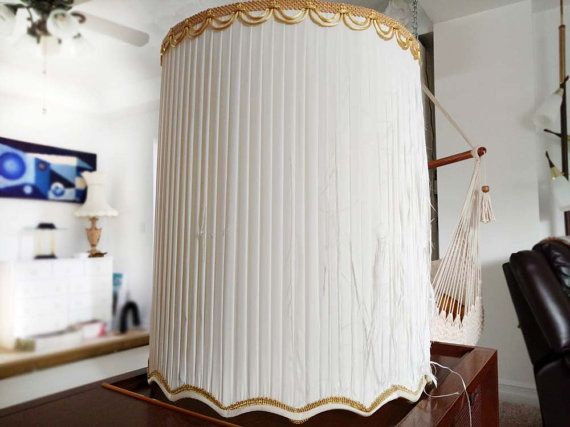 Vintage drum lampshade pleated silk off white scalloped bottom edge vintage drum lampshade pleated silk off by collectionselection sold aloadofball Choice Image