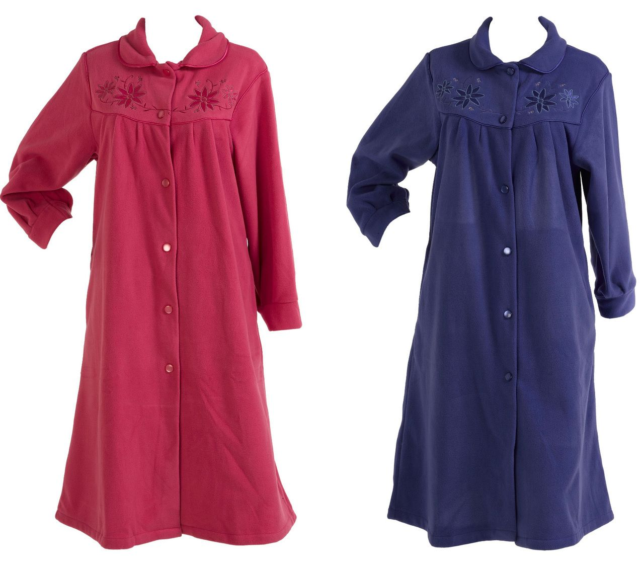 Slenderella Anti Pill Polar Fleece Button Up Dressing Gown (Various Sizes) - Mill Outlets