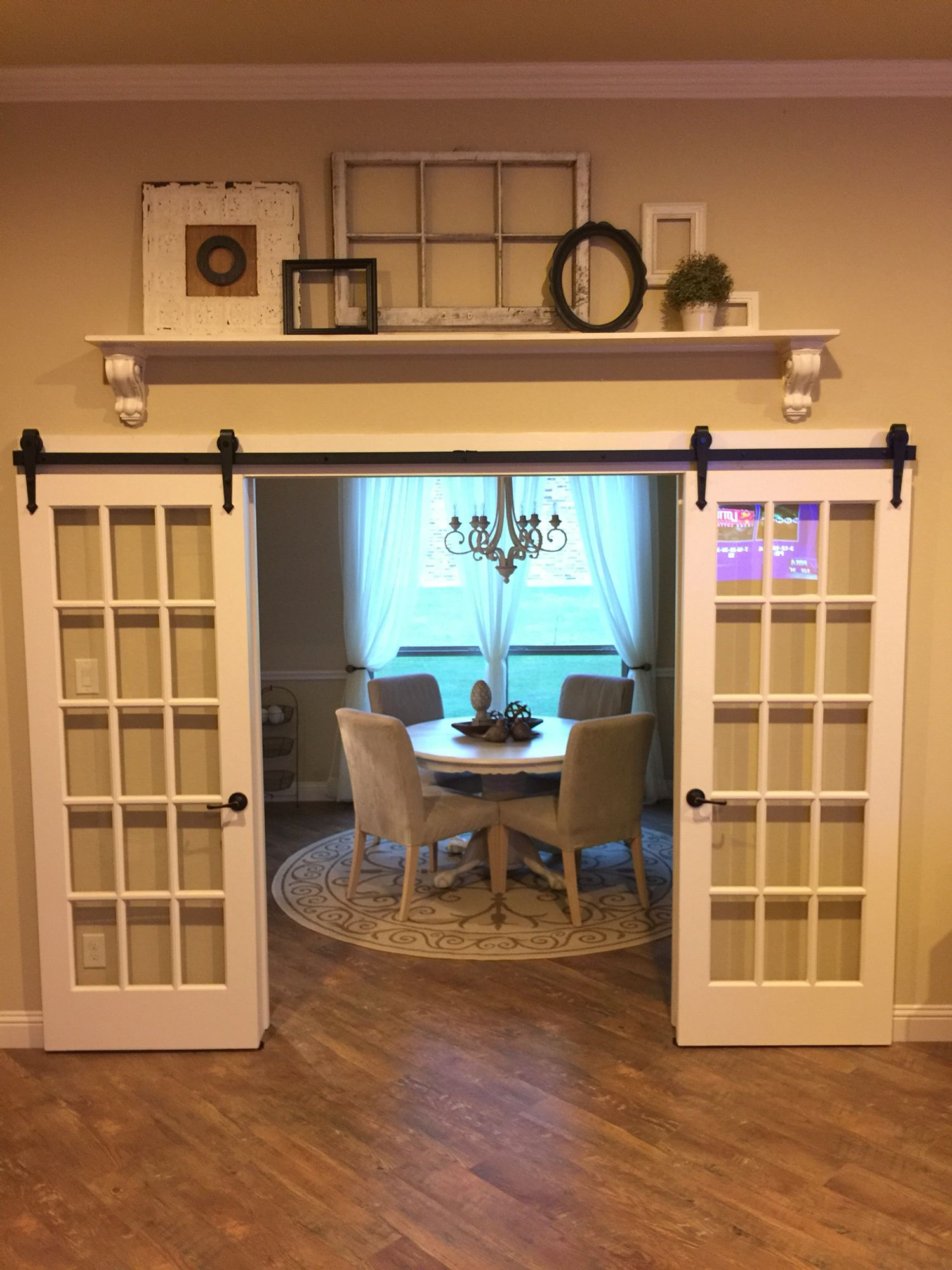French Doors On A Barn Door Rail And Add A Shelf Above French Doors Interior Trendy Dining Room Room Remodeling