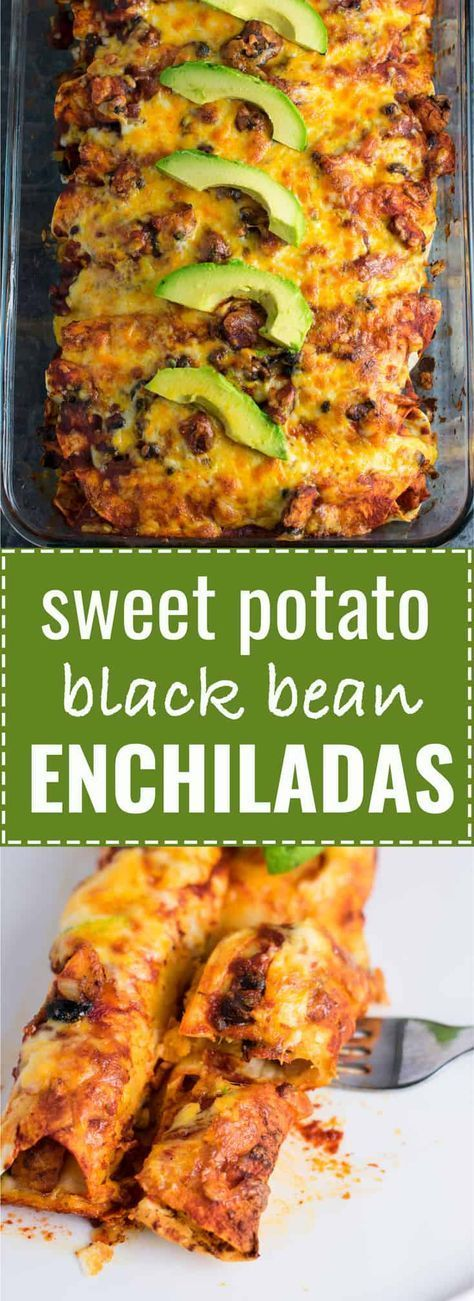Smoky Sweet potato black bean enchiladas recipe. Even meat eaters will flip for images