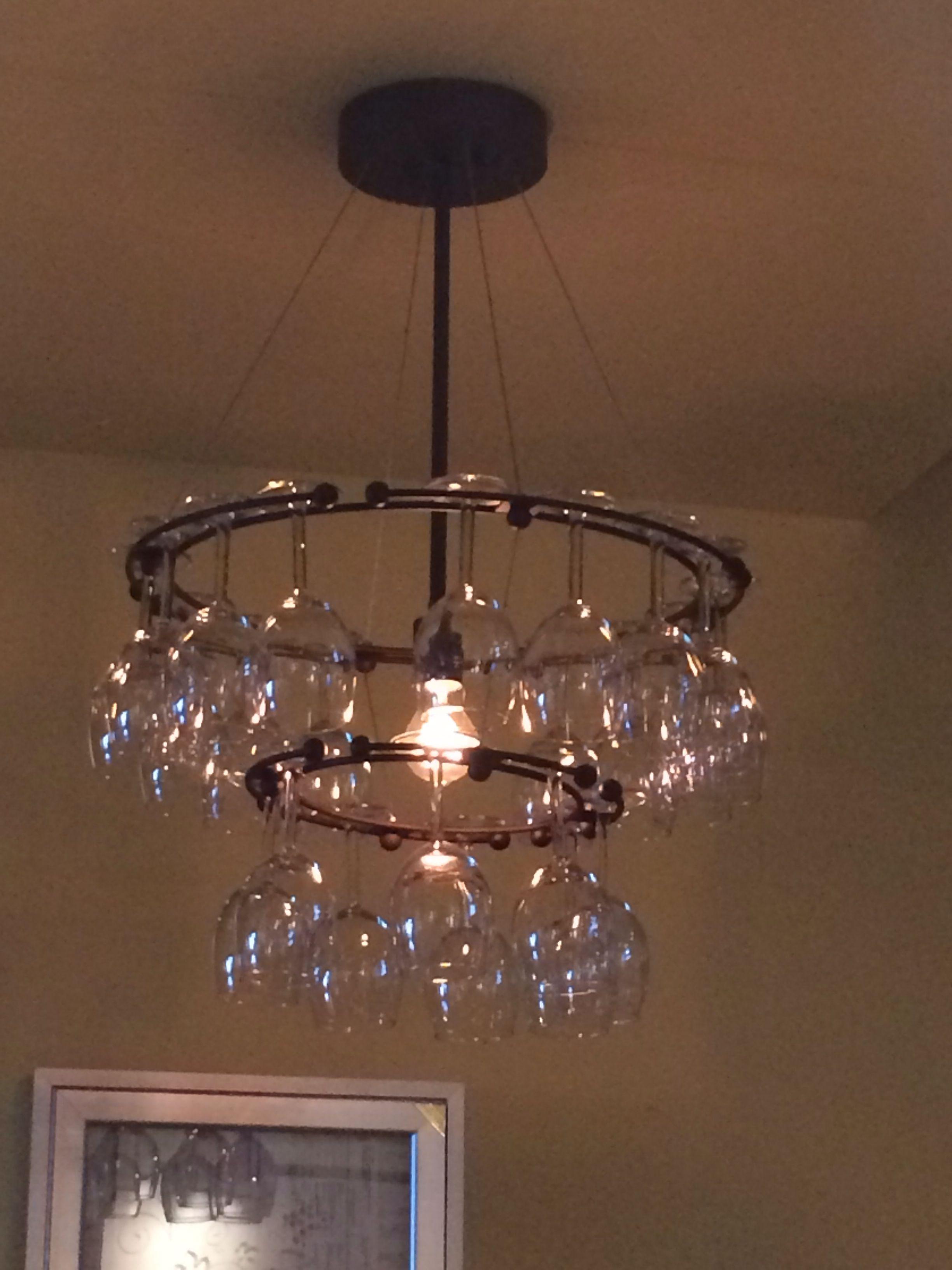 Wine glass chandelier Wine room Pinterest