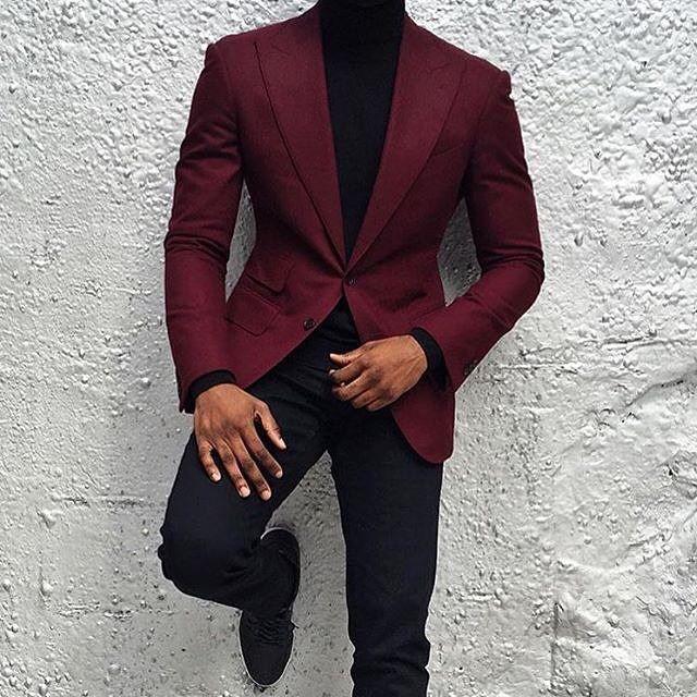 Red Tuxedo Jacket With Black Lapel