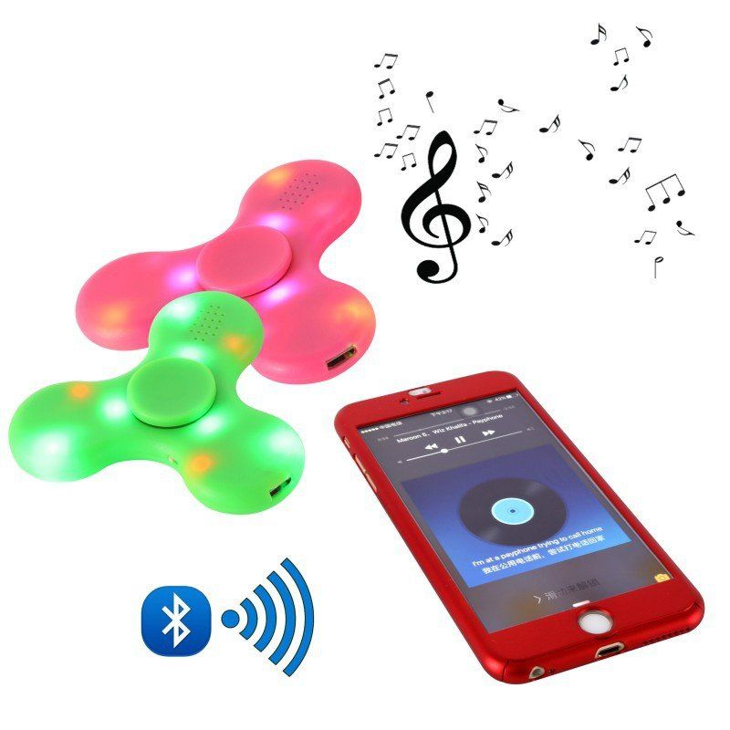 Newest Wireless Bluetooth Speaker Connection Fidget Spinning Glow in the Dark Anti Stress Spinner