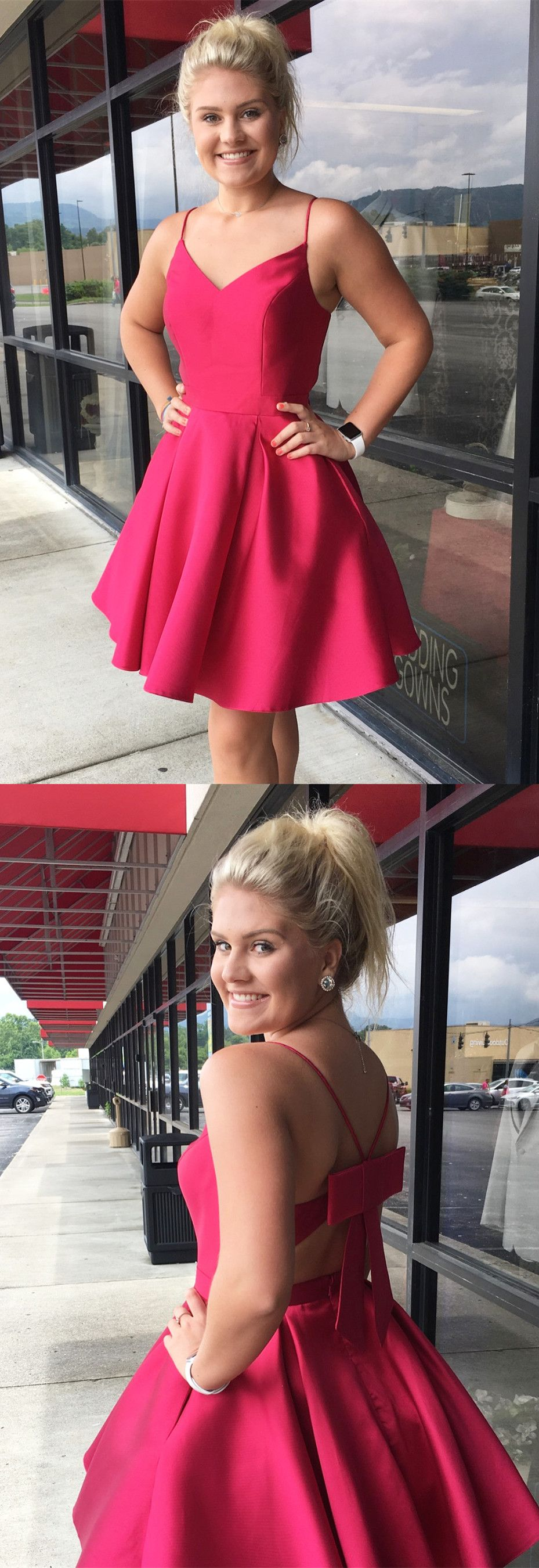 Spaghetti straps short fuchsia homecoming dress with pockets in