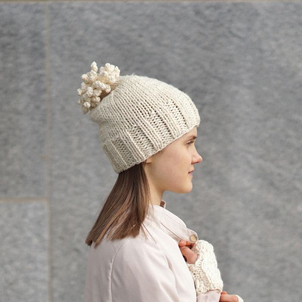 f3fb9296 Bobble Hat, Woman's size, in Ivory, made with soft merino wool ...