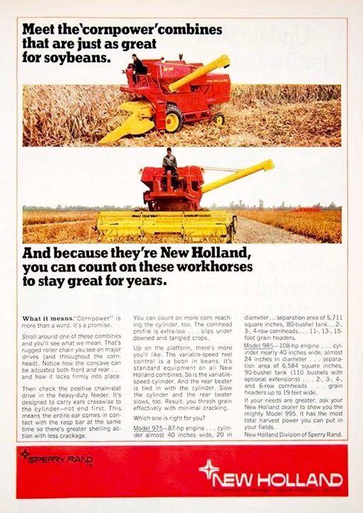 NEW HOLLAND 975 & 985 Combine Ad | Farm | Old farm equipment
