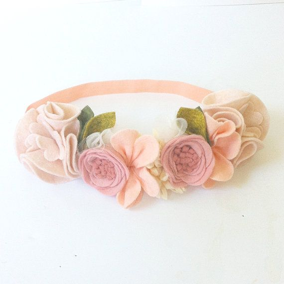 PEACHES CREAM // Felt Flower Crown // Mini от fancyfreefinery