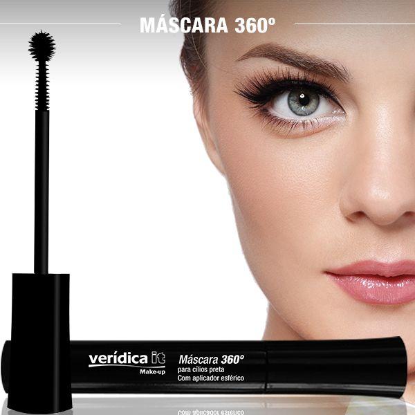 DÊ UM UP! A Máscara 360° para cílios Verídica It é panorâmica e vem com exclusivo aplicador esférico. #maquiagem #makeup #mascaracilios #mascara #veridicait