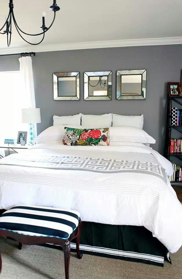 Simple Yet Elegant White And Grey Bedroom Decor Bedrooms - Chambre adulte tendance 2016