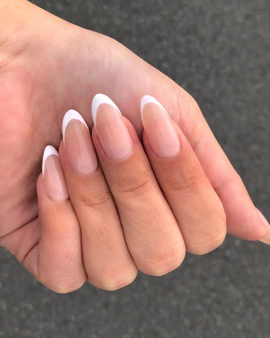 Pin By Michaela O Connor On New Nails In 2020 Rounded Acrylic Nails White Tip Acrylic Nails White Tip Nails