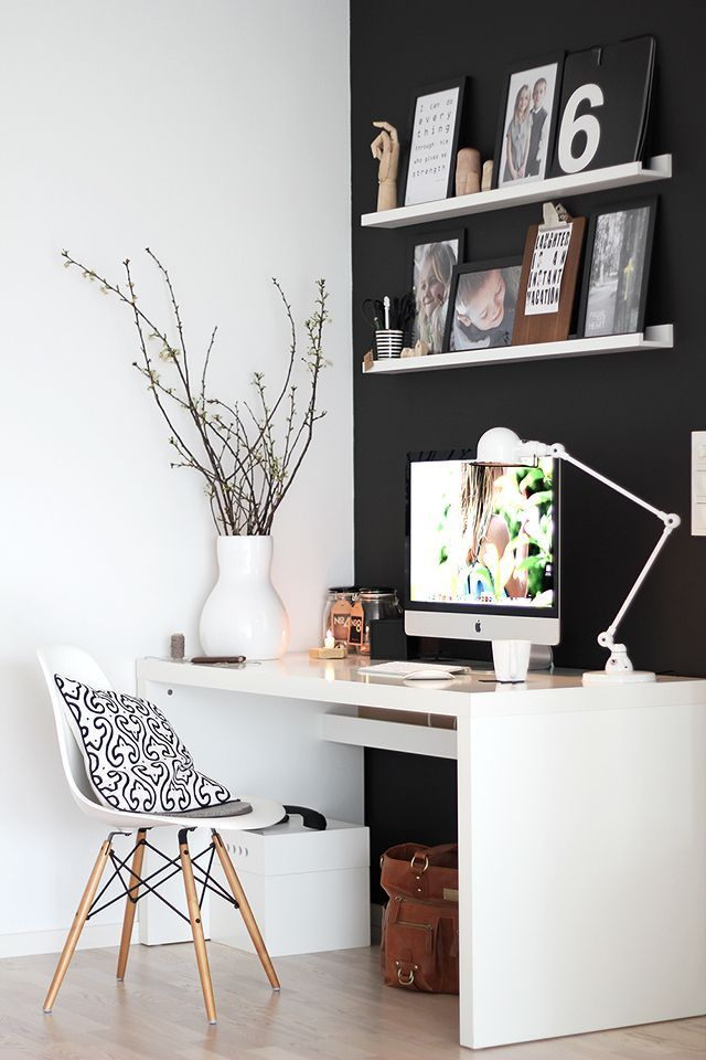 rincon de trabajo decoración oficinas blanco oficina nórdica mesa ...