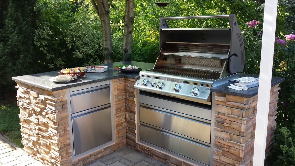 moderne outdoor küche   outdoor küche, eingebauter grill