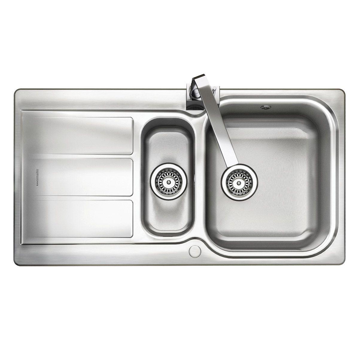 Rangemaster Glendale 1.5 bowl reversible kitchen sink with waste kit ...