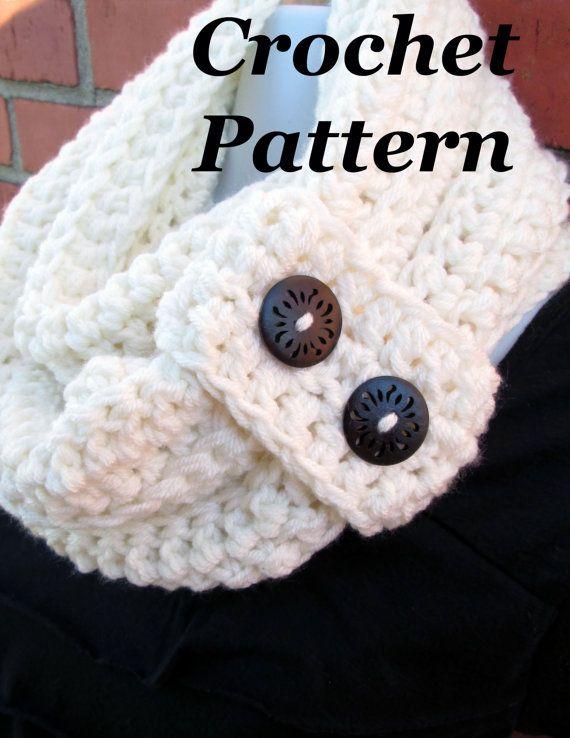 Crochet Pattern Quick Button Strap Scarf Warm Infinity Scarf