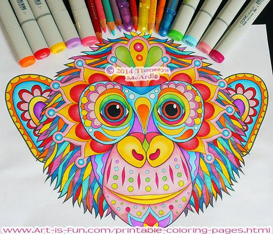 A colorful chimp from thaneeyas set of groovy animal coloring pages