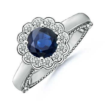Angara Blue Sapphire Engagement Ring in Rose Gold ZYOUN