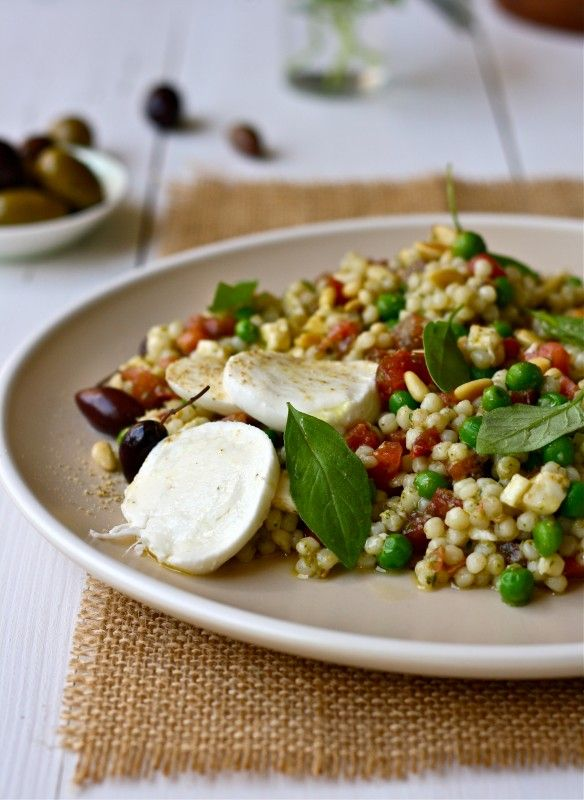 Israeli Couscous Salad With Mozzarella, Tomatoes, and Basil