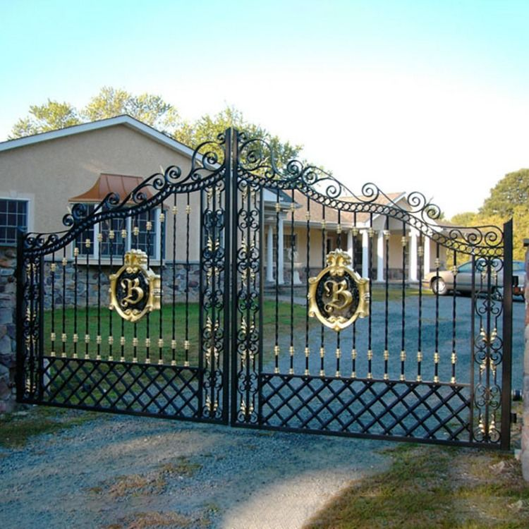 Black And Gold Clash Wrought Iron Gate With Two Posts For Driveway Garden Or Front Yard Like It Contact Us 86 13926 Iron Gate Design Gate Design Iron Gates
