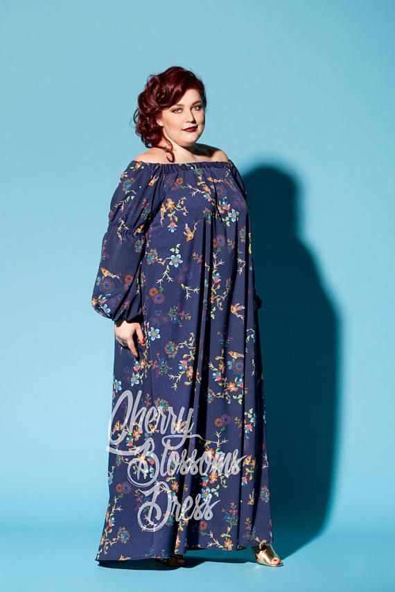 Blue maxi dress  Plus size Maxi dress  Long sleeve Maxi   Plus  acbd1c703