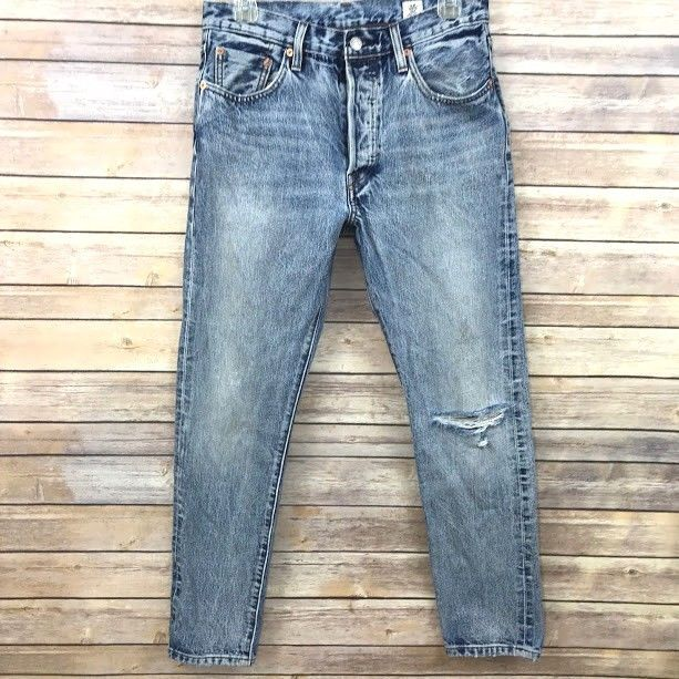 0884eec9989 Levi s 501 Skinny Jeans White Oak Selvedge Destroyed Size 28 x 28 High  Waisted  Levis  SlimSkinny
