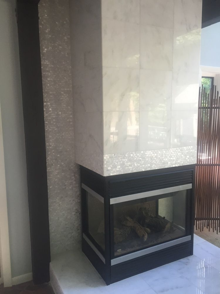 White Brick Pearl Shell Tile In 2019 Fireplace Tile