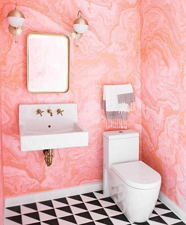Pink marble wallpaper - gold details - geometric floor tiles - swoon ...