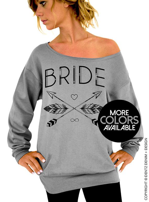 "Use coupon code ""pinterest"" Bride Sweatshirt. Bride Tribe. Gray Slouchy Oversized Sweatshirt. Bachelorette Party Sweatshirts. Black Pink Ink Available by DentzDesign"