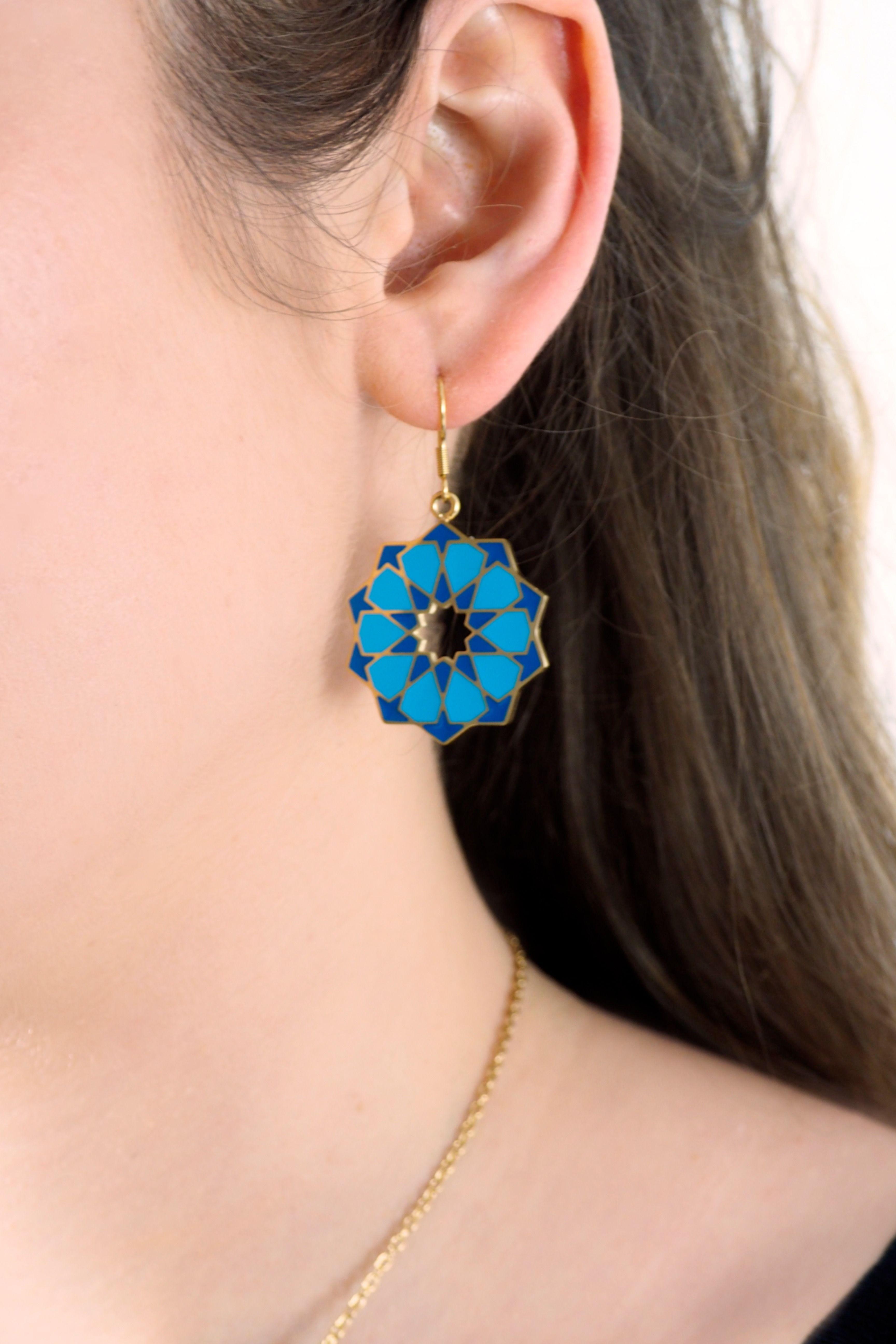 Earring Arabic Mosaic brass sacred geometry jewellery