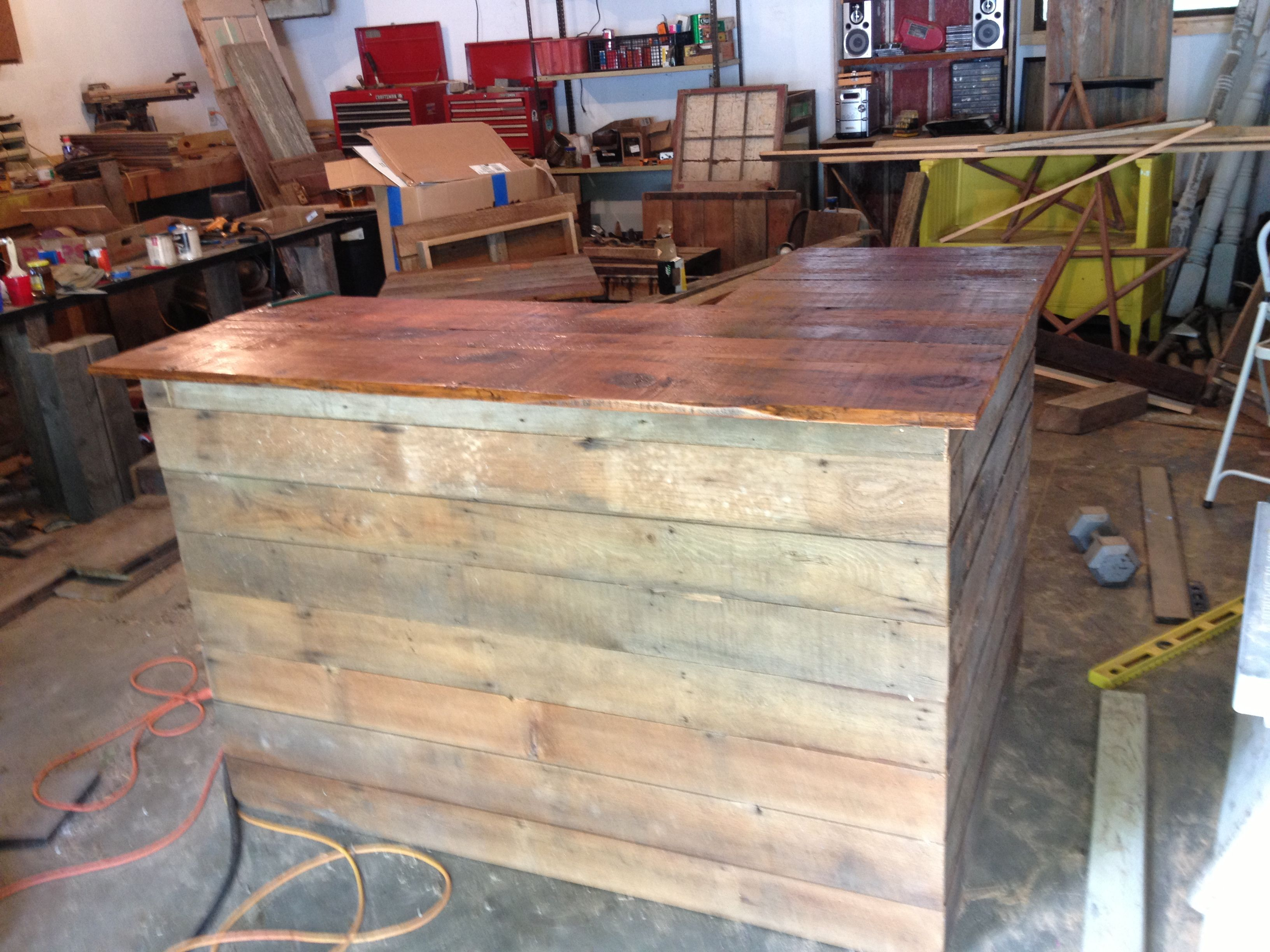 L shaped barn wood bar my projects pinterest wood for Wood outdoor bar ideas