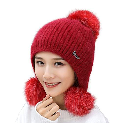 be12341030cb8 Great for HUAMULAN Women Winter Cony Hair Beanie Hat Ski Ear Flaps Cap Dual  Layered Fleece Lined Pompoms.   13.99 - 16.99  offerdressforyou from top  store