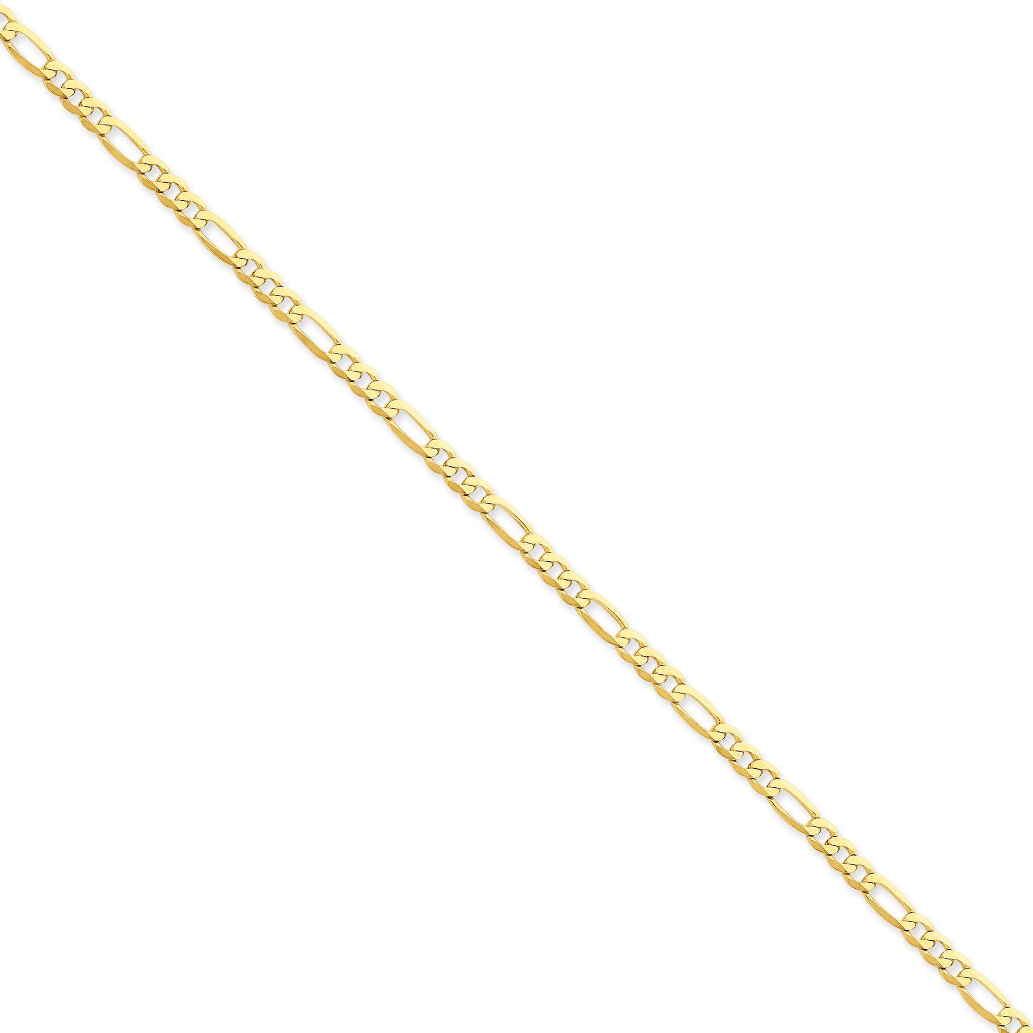 14k 4mm Flat Figaro Bracelet
