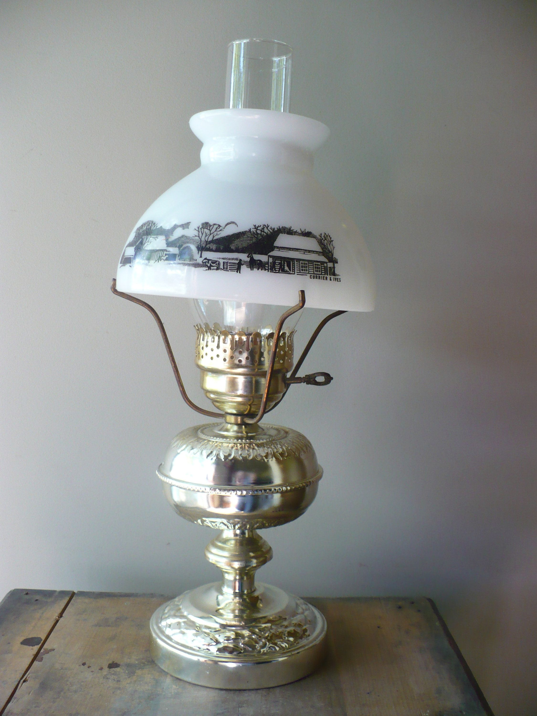 Currier And Ives Table Lamp Vintage Hurricane Lamp Theearlybirdfinds