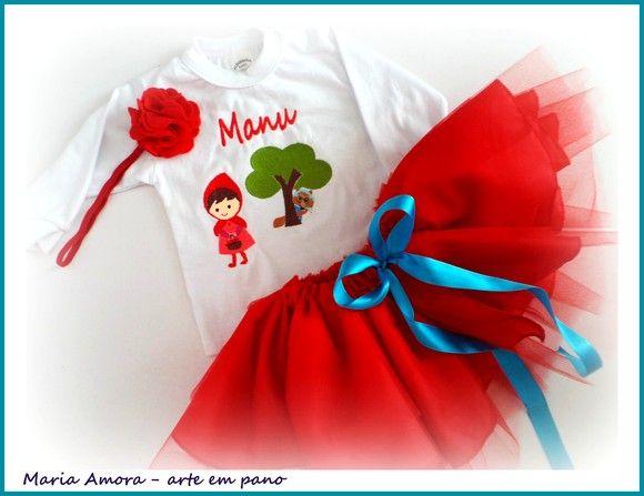 ca49b9e1dd0 Camiseta ou body personalizado + saia tutu - Chapeuzinho Vermelho - para  uma Princesa e sua
