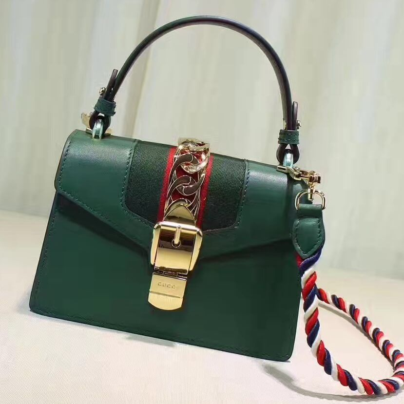 32de40b5f74 Gucci Sylvie Leather Mini Bag 470270 Green 2017
