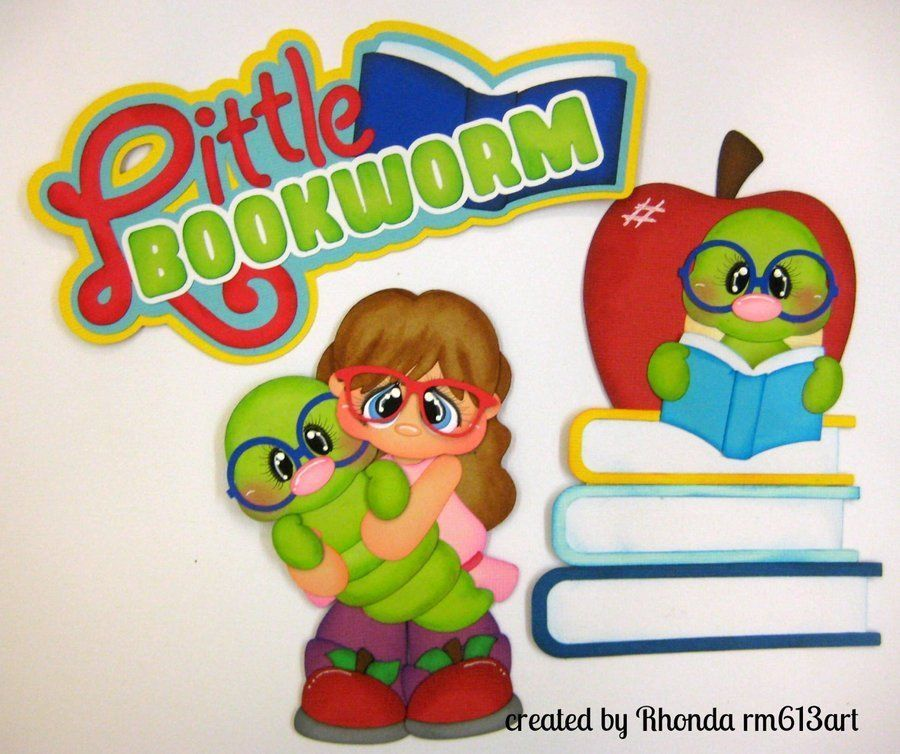 Bookworm girl school paper piecing set premade scrapbook for Cascanueces jardin infantil