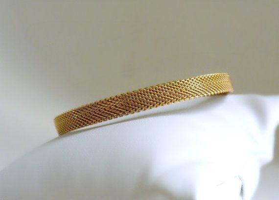 Gold Mesh Bracelet Thin Bracelet Layering by BunnyFindsVintage