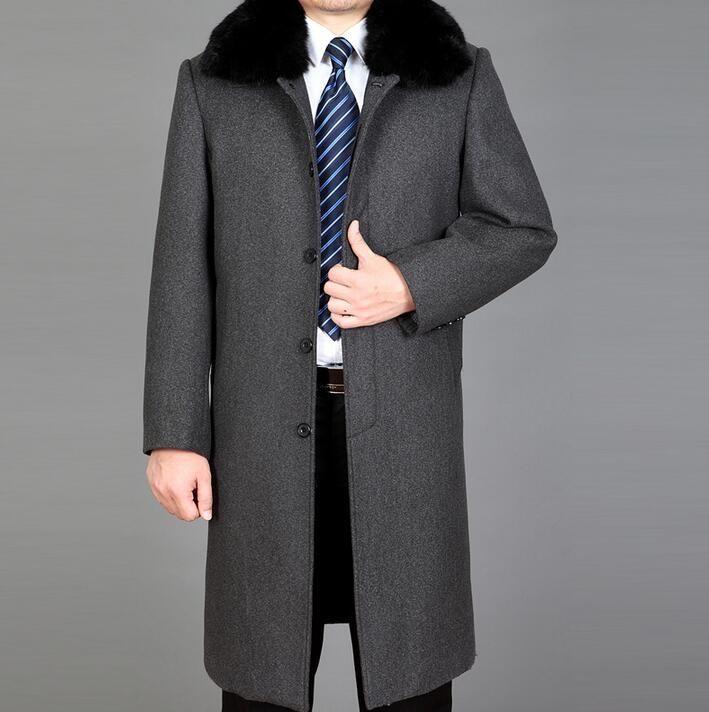 Winter Quinquagenarian Wool Coats Mens Trench Coats Long Design Plus