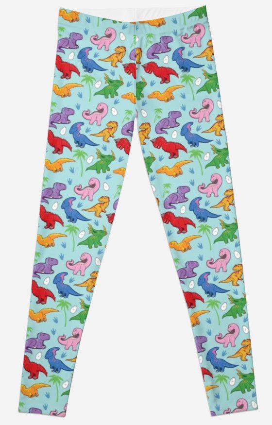 Cute Dinosaur Pattern Leggings #dinosaurs #jurassic #rex #raptors #pattern