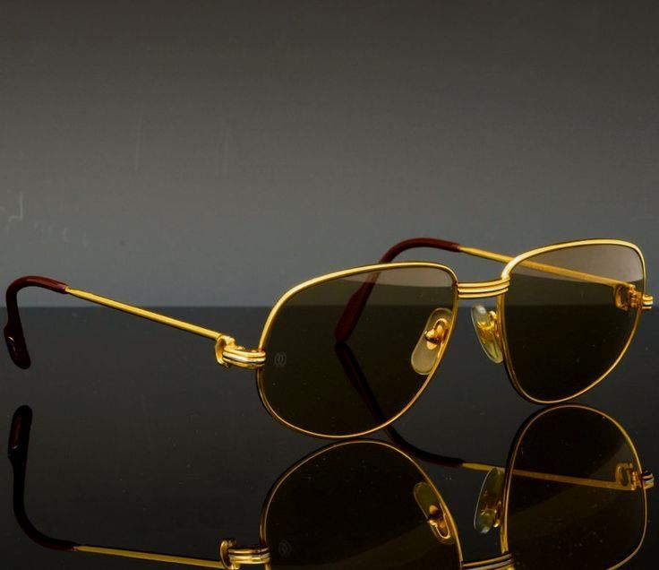 0f4d6147f7 Cartier Sunglasses ( Cartier Sunglasses (Men s Pre-owned Vintage 18K Gold  Plated Aviator Paris Designer Sun Glasses)