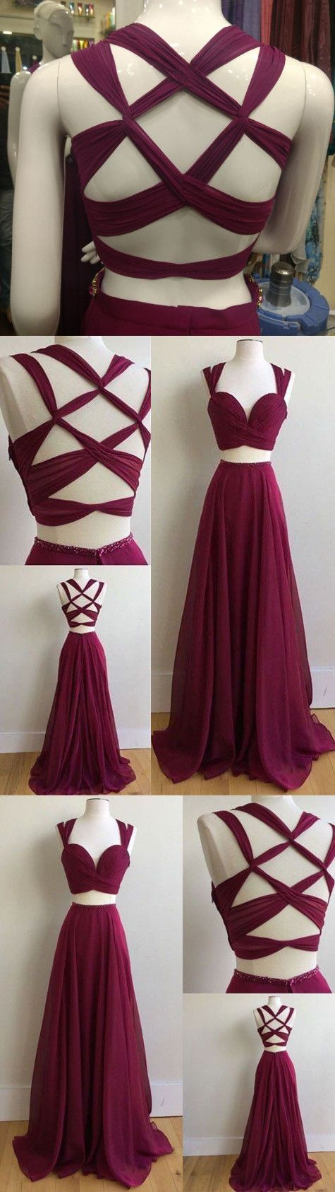 Gorgeous pieces prom dresses long sexy evening gowns chiffon two