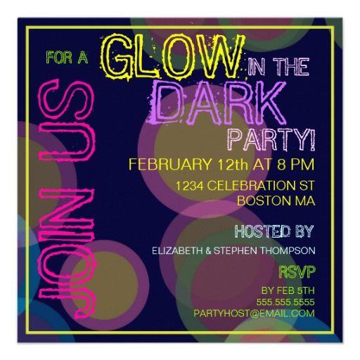 Glow In The Dark Blacklight Party Invitation Pinterest