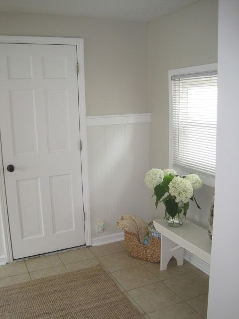 Mudroom Makeover Reveal Mudroom Makeover Tan Walls Neutral