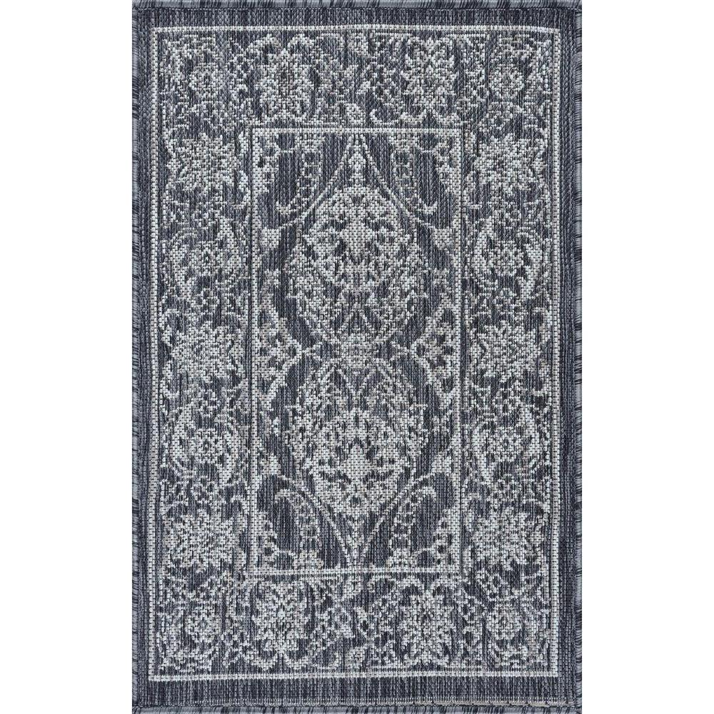 Tayse Rugs Veranda Charcoal 2 Ft X 3 Ft Outdoor Accent Rug Vnd2318 2x3 The Home Depot Round Area Rugs Outdoor Accents Tayse Rugs