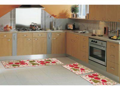 tapetes para cozinha com estampa de morangos