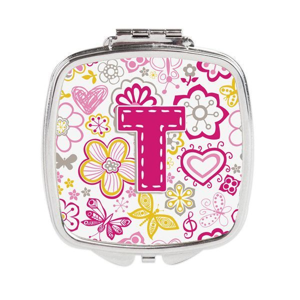 Letter T Flowers and Butterflies Pink Compact Mirror CJ2005-TSCM