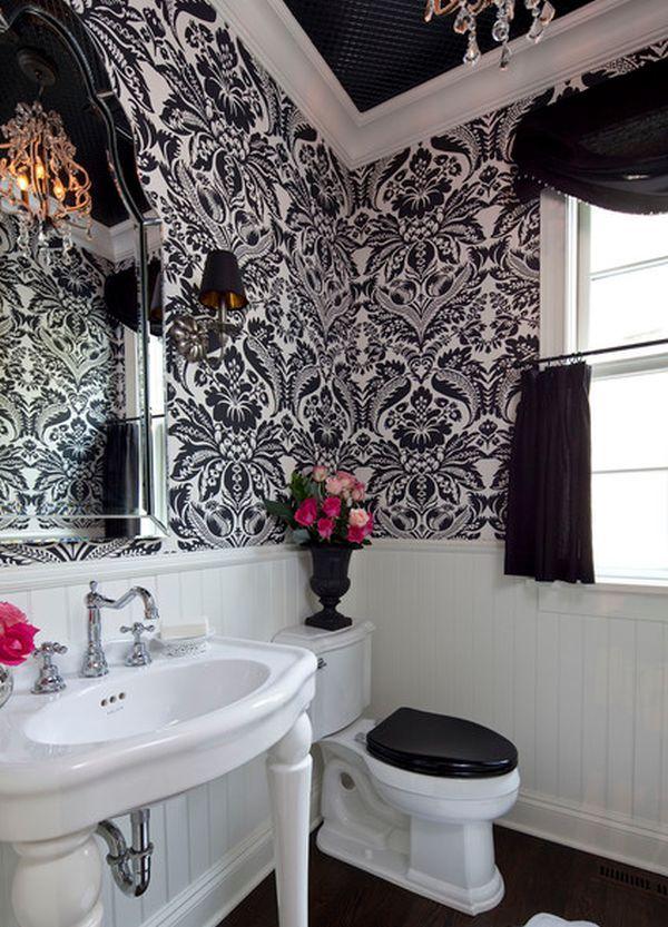 Contemporary Use Of Floral Patterns Black White Bathrooms Bathroom Decor Bathroom Design