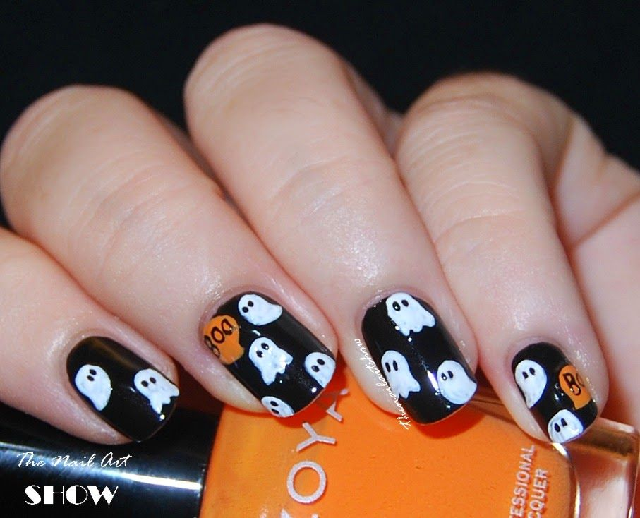 The Nail Art Show Boo Ghost Pattern Nail Art Halloween Acrylic Nails Horror Nails Fashion Nails